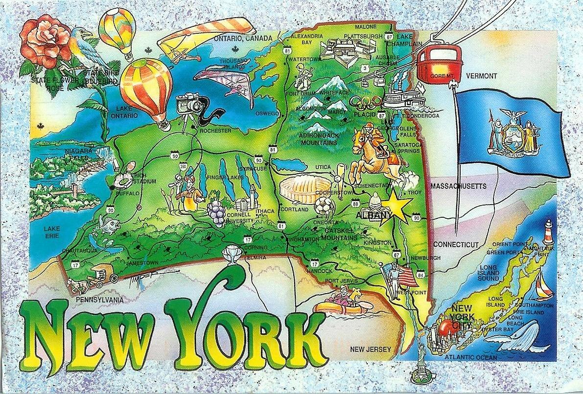Excepcional Mapa del Estado de Nueva York (Tarjetas Postales) – Historias de  IO71
