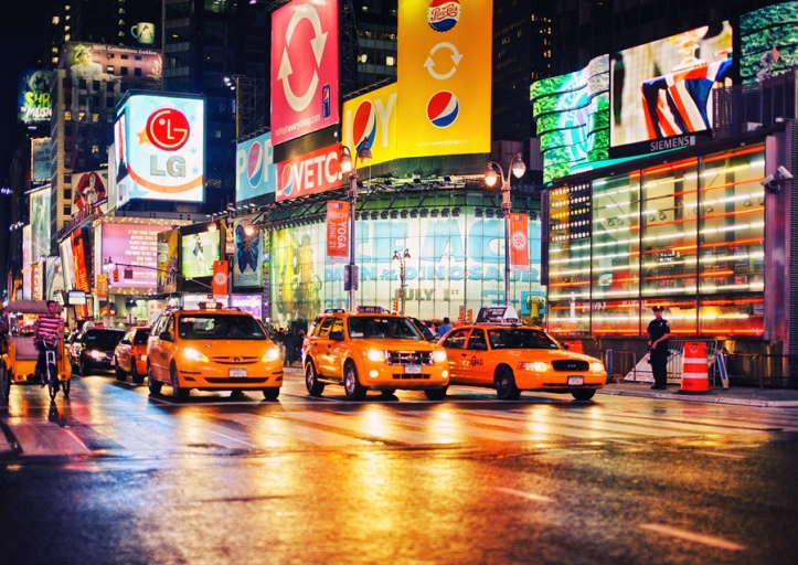 Taxis en Times Square