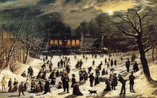 Moonlight Skating, Central Park, the Terrace and Lake  - John O'Brien Inman  (1878)
