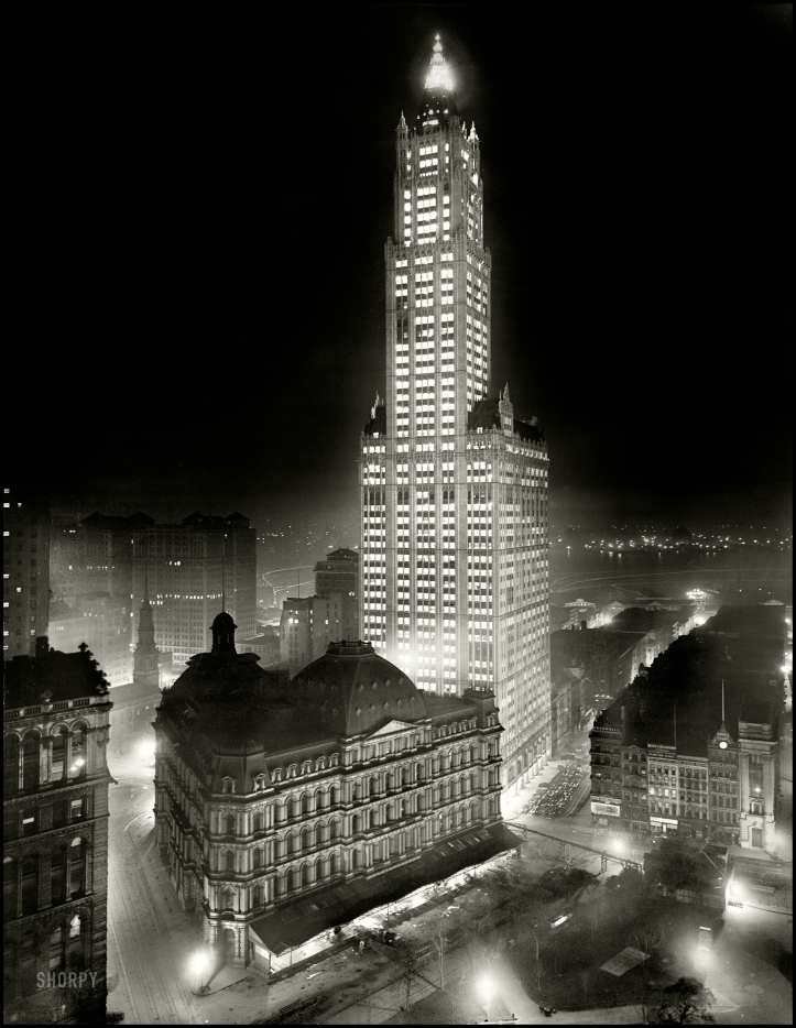 The Woolworth Building at night