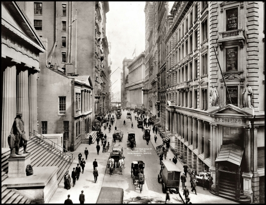Wall Street east from Nassau Street, 1911.