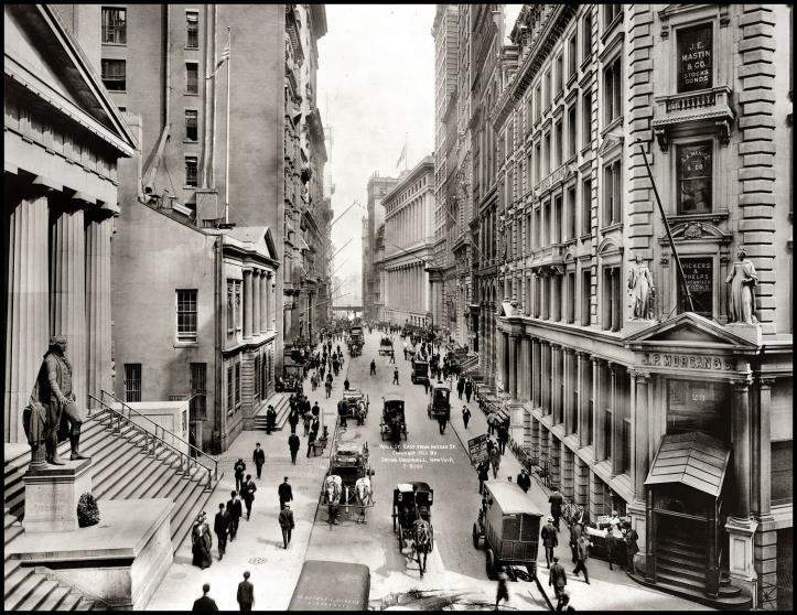 Wall Street east from Nassau Street, 1911.