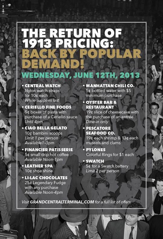 Grand Central precios de 1913