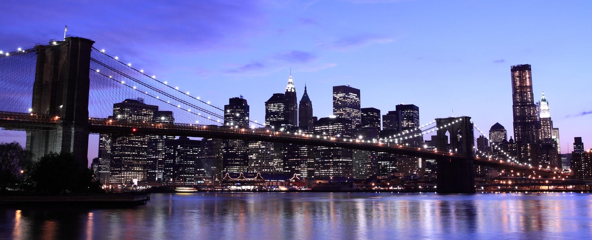 New York Brooklyn Bridge Wallpaper Town City Night Gfgg