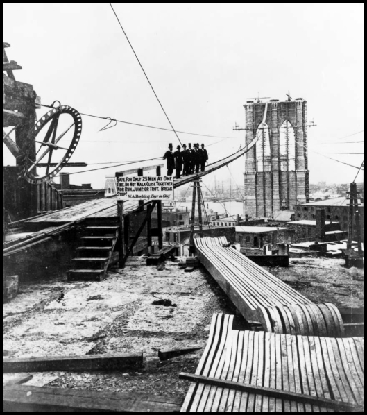 Construction of the Brooklyn Bridge  1878