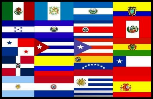 Banderas de los veinte países (más Estados Unidos) que participan en el desfile