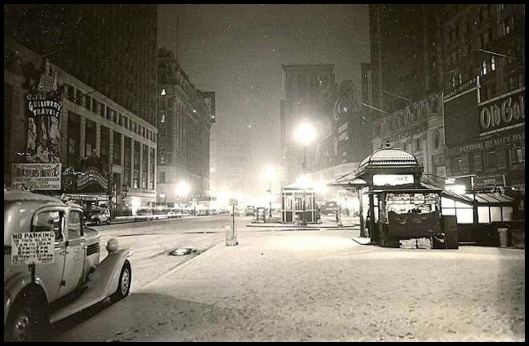 Times Square in snow, 1940