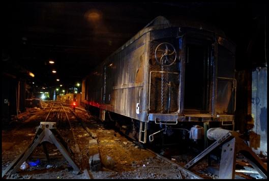 El vagón acorazado de Franklin D. Roosevelt se encuentra todavía estacionado en el andén.