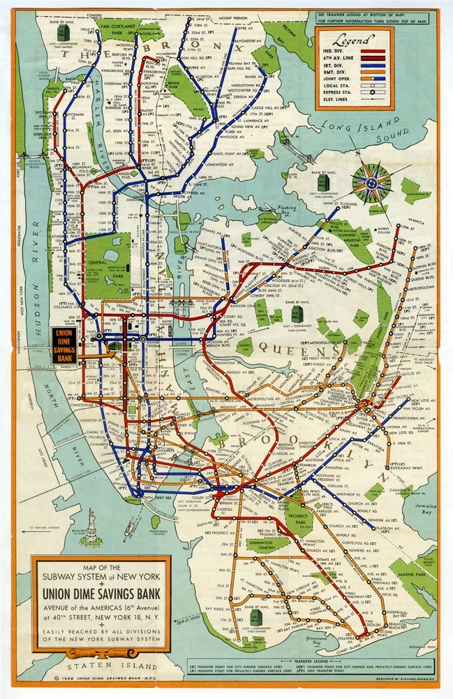 Map of the Subway System of New York, 1948