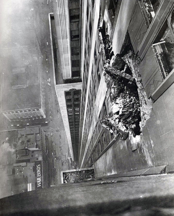 B-25 Bomber Hits 78th Floor of the Empire State Building , July 28, 1945 (Photo by Ernie Sisto/New York Times)